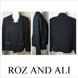 ROZ&ALI XL black textured jacket / blazer